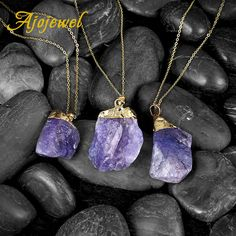 Ajojewel New Fashion Simple Nature Stone Jewelry Purple Crystal Pendant Necklaces For Women