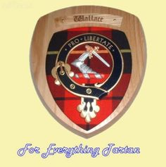 Clan Wallace Tartan Woodcarver Wooden Wall Plaque Wallace Crest 7 x 8