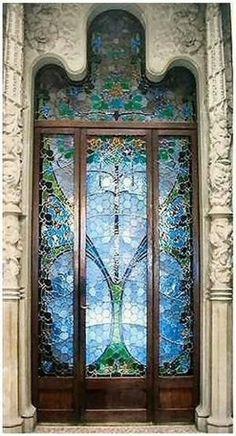 Stained glass Art Nouveau door, Casa Reus, Spain