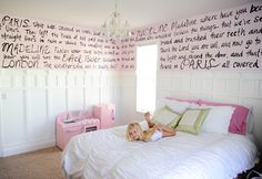 As a reader, I LOVE this idea for a (future hypothetical) little girl!     Text from Madeline books hand painted on the wall.  Via Tammy Mitchell Interior Designs.