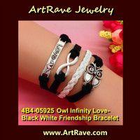 22]4B4-05925 Owl Infinity Love- Black White Friendship Bracelet RETAIL $15