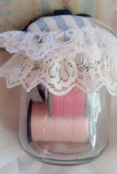 Pin Cushion/Sew Notions Jar by CherylBDesignsstudio on Etsy, $9.00