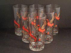 Barware Collection - HAZEL ATLAS - PHEASANT - HIGHBALL GLASSES