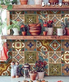 Mexican Terracotta Tile/Wall/Stair Stickers, Removable Decal for Kitchen /Bathro. - Mexican Terracotta Tile/Wall/Stair Stickers, Removable Decal for Kitchen /Bathroom/ Door/ Floor/ Fr - Stair Stickers, Wall Tiles, Talavera Tiles, Terracotta, Tile Decals, Bohemian Kitchen, Stair Decals, Selling Handmade Items, Mexican Colors