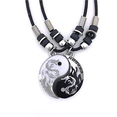 Tapp Collections™ Dragon Yin Yang 2 Pewter Pendant Necklaces Set: This pewter pendant set is a 2 pendants combo of Yin and Yang and it is fun! This set is eco friendly, nickel free, lead free, and so beautiful! Wolf Necklace, Dragon Necklace, Men Necklace, Pendant Necklace, Pendant Set, Fantasy Jewelry, Gothic Jewelry, Bff Necklaces, Magical Jewelry