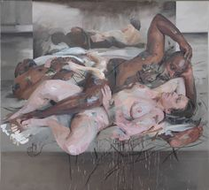 JENNY SAVILLE Odalisque, 2012–14 Oil and charcoal on canvas 85 7/16 x 93 1/8 inches (217 x 236.5 cm)