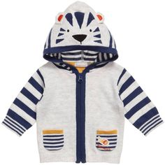 Catimini boys zip-up cardigan in pale grey marl with blue stripe trims. This adorable knit is made with super soft, lightweight cotton and features stripy arms, two tiny patch front pockets and a hood with a tiger motif and ears.