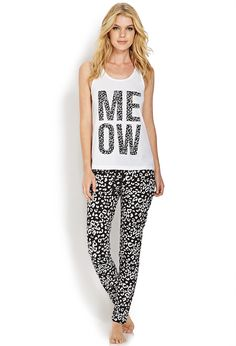 Meow PJ Set | FOREVER21 #Pajamas #Meow || this outfit would be cute even if it wasn't a pj set