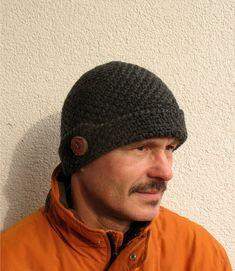 Mens winter hat 100% natural wool ECO chunky skull black hat wooden button  Mens handmade pure wool cap Mens black hat Boys cozy hat handknit 7ded6d885801