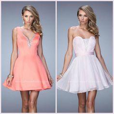 La Femme 22009 & 21994 ~ coral dress ~ pink dress ~ cocktail dress ~ short dress ~ prom 2016 ~ design ~ homecoming ~ pageant look ~ fashion ~ high school ~ dance ~ love it ~ wedding guest ~
