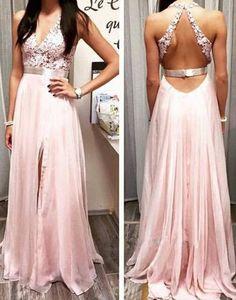 V neck Lace Backless Long Chiffon Prom Dress