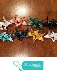 Origami crane earrings - waterproofed paper lucky peace cranes for wedding shower or favors. By Liz Taylor Designs. from Liz Taylor Designs http://www.amazon.com/dp/B015QJ8OH0/ref=hnd_sw_r_pi_dp_J3qqwb0E27HVH #handmadeatamazon
