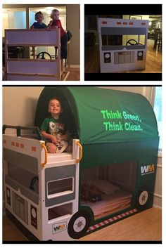 My grandson is obsessed with trash trucks. He and his brother was ready for the Ikea Kura loft bed. So, I decided to turn the bed into a trash truck bed. Truck Bedroom, Lego Bedroom, Childs Bedroom, Food Trucks, Boys Bedroom Themes, Kid Bedrooms, Girl Rooms, Bedroom Ideas, Ideas Cafe