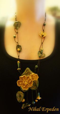 Beautiful polymer clay necklace by Nihal Erpeden.