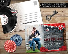 Rockabilly Wedding Photo Save the Date Post Card by OddLotEmporium #wedding #rockabilly #savethedate