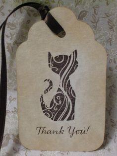 Thank You Kitty Art Deco Tag - vintage style, shabby chic style, hang tag, ephemera, gift tag, old fashioned, cat, elegant - set of 6