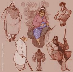 DATTARAJ KAMAT Animation art: some selected character explorations from today's work...