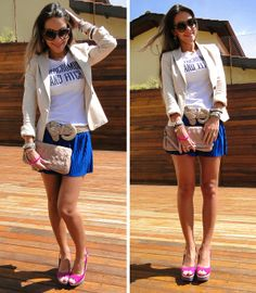 Look do dia   Anabela color block ...