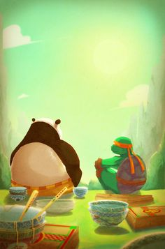""""""" The Dragon Warrior And Mikey. """" This would be such an awesome crossover. cx"""