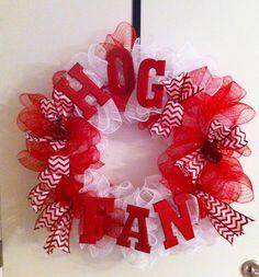 Wreaths by Mary Merry - Ruffled deco mesh Hog Fan razorback wreath. $60