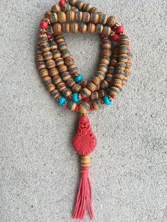 Tibetan Mala Inlaid Bead Prayer Necklace with Dyed Turquoise