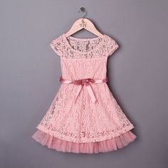 Toddler Pink Lace Easter Dress - Girl East Dress - Pink Lace - Photo Shoot - Gift - Ribbon/Lace - Summer Dress Girl - Toddler Summer - Flowe by MJfordiva on Etsy