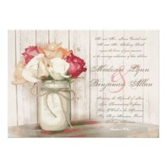Rustic Country Mason Jar Roses Wedding Invitations with Twine Bow on distressed barn wood background. OFF when you order invites. Wedding Rsvp, Rose Wedding, Wedding Ideas, Wedding Decor, Wedding Stuff, Renewal Wedding, Spring Wedding, Wedding Inspiration