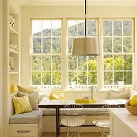 Ken Linsteadt Architects - kitchens - rustic wood floors, built in banquette, dining nook, U shaped banquette, built in dining banquette, ti...