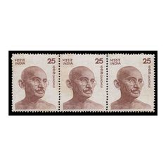 Gandhiji stamp were issued in 1976 in different sizes with basic letter rate denominations through the years. Special definitives were issued depicting Gandhi starting in the 1970s. The Mahatma Gandhi definitive issue was issued in 25p, 30p, 35p, 50p, 60p, and 100p denominations. Get this 3 stamps horizontally only on Mintage World. Sell Coins, Buy Stamps, 5 Cents, Mahatma Gandhi, 1970s, Indian, Lettering, Stuff To Buy, Collection