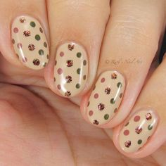 """Fall polka dots over """"Chai Latte"""" by Other colors used: """"Macchiato"""", """"Moss"""", """"Roots"""", and """"Brick"""". Loving this combo and… Bride Nails, Wedding Nails, Bridesmaids Nails, Sparkle Nails, Autumn Nails, Elegant Nails, Trendy Nails, Chai, Mother Of The Bride"""