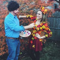 Hallowen Costume Couples Bob Ross and a happy tree! Bob Ross Halloween Costume, Bob Ross Costume, Clever Halloween Costumes, Cute Costumes, Family Costumes, Halloween Boo, Diy Halloween Costumes, Holidays Halloween, Halloween Makeup