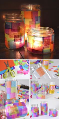 Collect old jars for decoration in beautiful gifts - s . Collect old glasses for decoration in beautiful gifts – school – collect old glasses for Diy Crafts Videos, Diy Crafts To Sell, Diy Crafts For Kids, Easy Crafts, Grandparents Day Crafts, Mothers Day Crafts, Hanukkah Crafts, Tissue Paper Crafts, Mason Jar Crafts