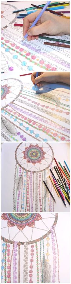 How to make a dreamcatcher - coloring page version! :) Kasia's blog is in Polish, but thankfully there are many pictures in this post! Poster from annagrunduls.com/shop