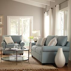 Blue, white and taupe