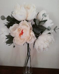 White romantic peonies