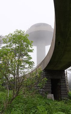 Clingmans Dome GSMNP - A view of the observation tower in the fog, taken from the base of the tower.