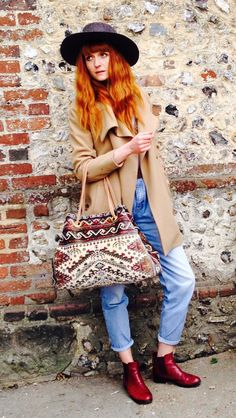 Our stunning model Anne-Charlotte with our #cosmicbag #carpetbag