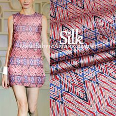 SILK  Pink Blue Tribal Print Fabric. High-end Silk Store: fabricAsians @etsy. Etsy COUPON: Buy50