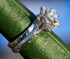 Wedding Set -  UNIQUE Flower Rose Diamond Engagement Ring and Wedding band set Engraving- 1.00 carats - 14K white gold - custom made - fL09. $5,000.00, via Etsy.