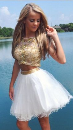 Two Pieces Gold Beads Prom Dresses 2016 Scoop Neckline White Skirt Tulle Fashion…