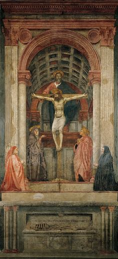 """the Holy Trinity"" by Masaccio (trinità, 1425) in Florence - Illusion et perspective - la voûte plate"