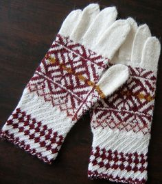 Patterned gloves. Hand knitted gloves. White dark by TiiuHandCraft