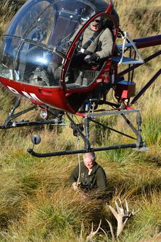 Retrieving a stag with the helicopter