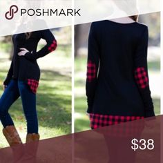 •plaid elbow patch tunic• Tunic features plaid elbow patches and plaid bottom hem on back of tunic. Material is 92% rayon and 2% spandex.  Small bust measures 34 inches, medium 36 and large 38. Length in front 27 inches, back 32 inches. ❌PRICE FIRM UNLESS BUNDLED❌ Tops Tunics