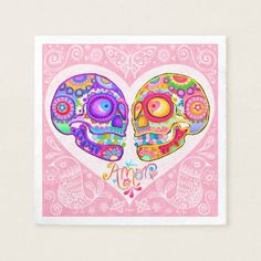 Shop Sugar Skull Wedding Invitations - Day of the Dead created by thaneeyamcardle. Sugar Skull Art, Sugar Skulls, Sugar Skull Wedding, Colorful Skulls, Skull Pictures, Day Of The Dead Art, Ipad Art, Couple Art, Love Art
