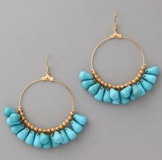 #Kenneth Jay Lane Beaded Hoop Earrings
