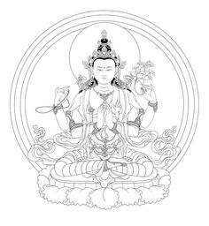 Avalokiteshvara is the earthly manifestation of the self born, eternal Buddha, Amitabha. He guards this world in the interval between the historical Sakyamuni Buddha, and the next Buddha of the Future Maitreya.