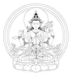 Avalokiteshvara is the earthly manifestation of the self born, eternal Buddha, Amitabha. He guards this world in the interval between the historical Sakyamuni Buddha, and the next Buddha of the Future Maitreya.