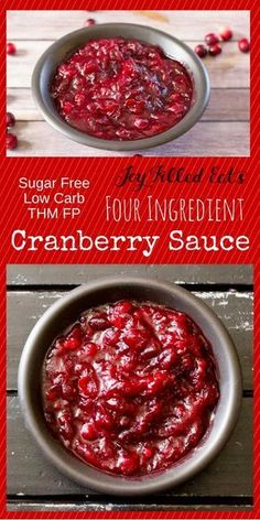 Sugar Free Cranberry Sauce with only four ingredients. Five min of prep & the smell of cranberries, cinnamon, & vanilla will fill your house. Low Carb THM FP via @joyfilledeats