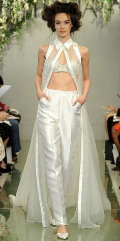 Modern Bridal Outfit: 18 Wedding Pantsuit Ideas ❤ See more… Pantsuit Wedding Dress, Blue Wedding Dresses, Bridal Dresses, Wedding Gowns, Formal Dresses, Bridal Pants, Bridal Jumpsuit, Theia Bridal, Bridal Fashion Week